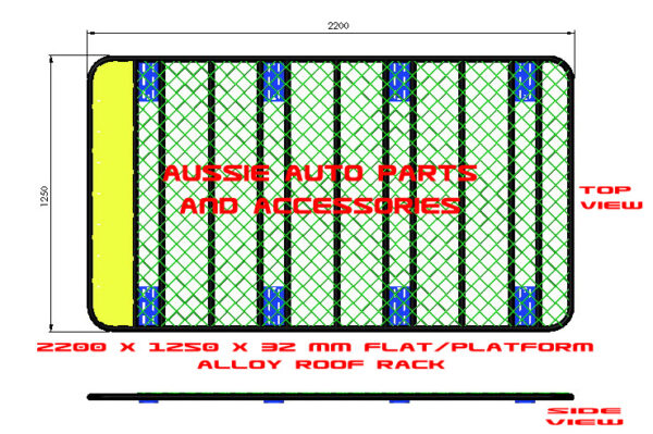Aussie Auto Parts and Accessories_2200x1250x32 mm Alloy Flat_ Platform Roof Rack