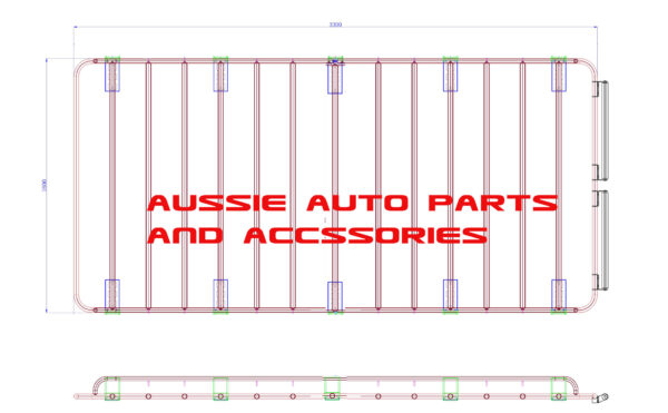 Tradesman Style Open ends alloy roof rack 3300x1600mm