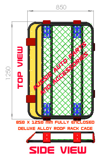 Fully Enclosed Alloy Roof Rack Cage 850x1250x160mm